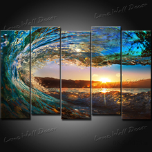 NO FRAME CANVAS ONLY 5 pieces Sunset on the beach with screw ocean wave wall painting printed on canvas home decor Free Shipping(China (Mainland))