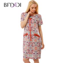 BFDADI Женские Летние Dress 2017 плюс размер одежды Ретро моделей Повседневная Коротким рукавом женские Платья Vestidos 3694-1(China (Mainland))