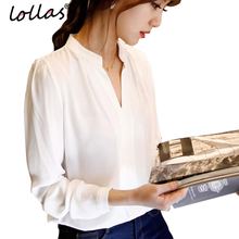 Buy lollas Casual Women White Blouse Ladies Solid Elegant V-neck Blouses Long Sleeve OL Office Shirt Plus Size for $5.71 in AliExpress store