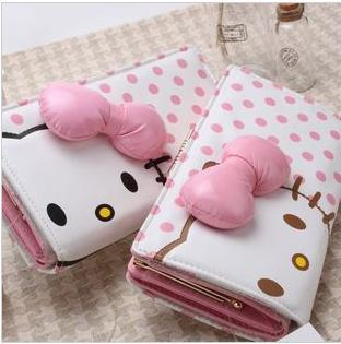 DISCOUNT pu big bow charm pink dot cute long wallet hello kitty id card holder rectangular for women party evening accessory(China (Mainland))