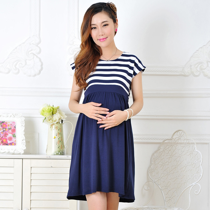 New Women Long Maternity Dresses for Pregnant Women Loose Clothing Maternity Fashion Stripe Home Cotton Mother Clothes Navy Blue(China (Mainland))