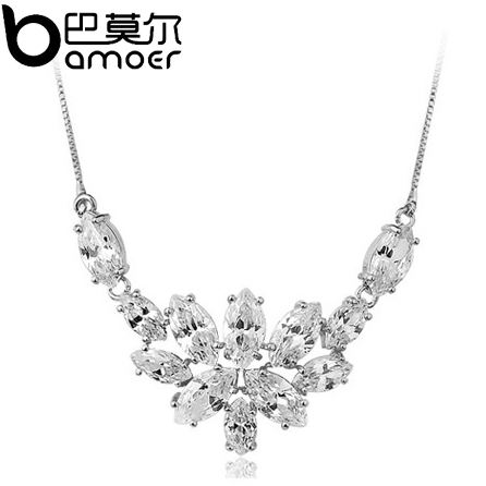 2015 Christmas Gift Flower Crystal Pendant Necklace For Women 18k Platinum Plated AAA Zircon Luxury High Quality Jewelry SDTN005(China (Mainland))