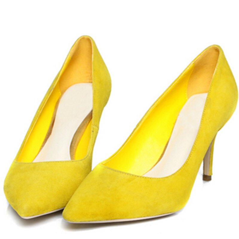 nubuck genuine leather women Pointed Toe pumps 2015 new sexy ladies Red green blue black yellow Sheepskin party high heels shoes(China (Mainland))