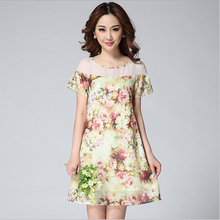2015 Summer Fashion Sweet Print Elegant Shift Dress Illusion O-neck Short Sleeve Organza Casual Dress
