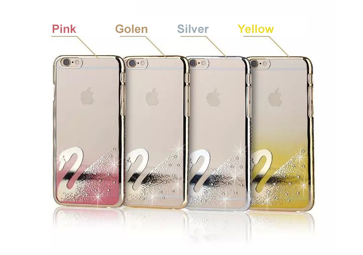 freeshipping luxirious swarovsky artificial crystals diamonds transparent phone case for iphone 5/6/6plus(China (Mainland))