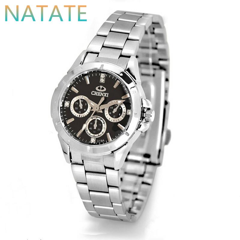 NATATE Woman Rhinestone Luxury Brand CHENXI Watch Full Stainless Steel For Female Quartz dial Decorated Business Watches 1040(China (Mainland))