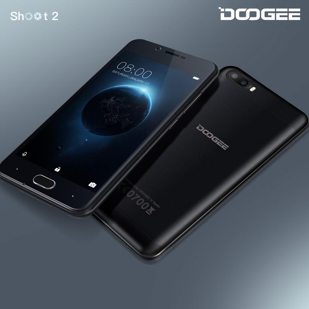 Stock DOOGEE Shoot 2 Dual camera mobile phones 5.0Inch IPS 1GB RAM+8GB ROM Android 7.0 Dual SIM MTK6580A Quad Core 3360mAH