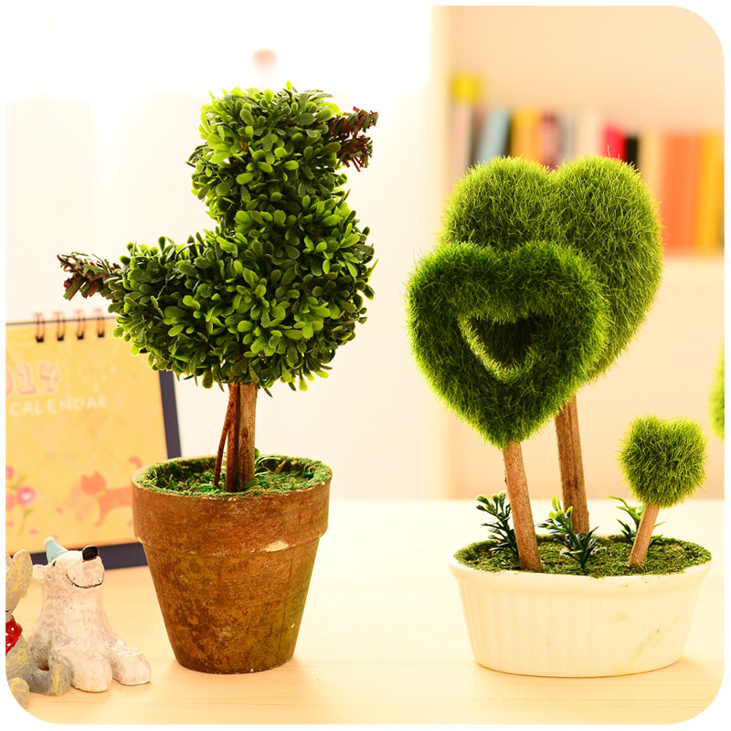 Creative living room interior meaty combination simulation green plants potted artificial flower leaves little fake grass Bonsai(China (Mainland))