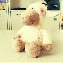 Super cute 1pc 35cm cartoon NICI white bellyband Dolly sheep novelty plush hold doll stuffed toy children birthday girl gift