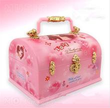 Girls Ballet Dance Music Instrument Jewelry Box & Portable Make up Box Fashion Jewellery Box  Childrens Doll Gift Pink Xmas sale(China (Mainland))