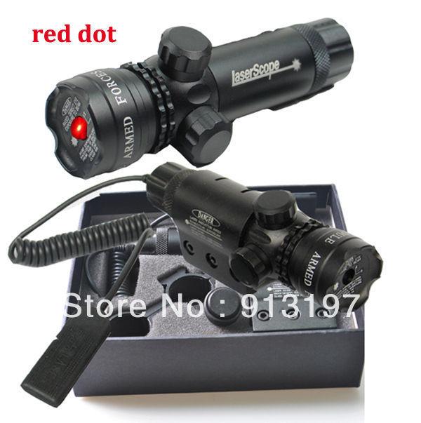 RED laser sight dot scope hunting rifle & rail mount & box set w/2 switches(China (Mainland))