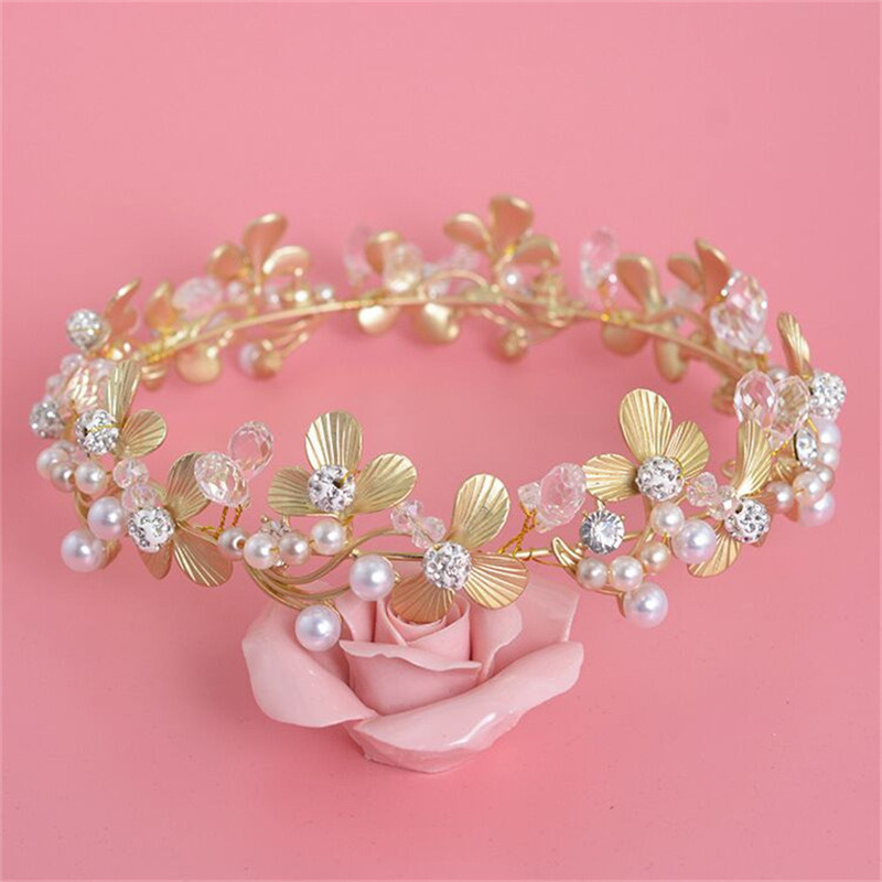 Baroque Golden Leafs Tiara Peal Crown Flowers Bridal Headband Princess Diadem Crystal Hair Jewelry Gift For Wedding Accessories(China (Mainland))