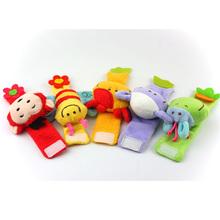Детские погремушки супер мягкие часы детский мультфильм животных запястье погремушки куклы детские развивающие игрушки 0-1 лет Бесплатно доставка