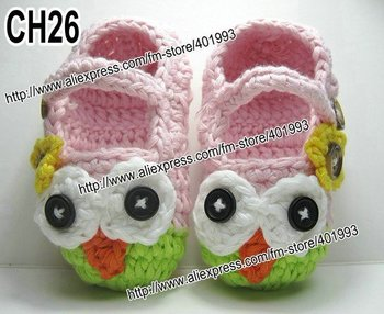 36pairs/lot Mary Janes Slippers Baby crochet shoes crochet Cotton Crochet Owl Slippers Houseshoes pink green with flower
