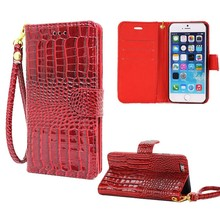 Hand Strap Wallet Case For iphone 5 5S Flip Cover Luxury Crocodile Grain Leather Pouch Case For Apple IPhone SE Mobile Phone Bag(China (Mainland))
