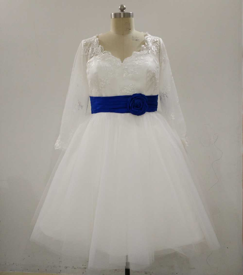 Ball gown ivory and blue belt lace tea length wedding for Blue wedding dress with sleeves