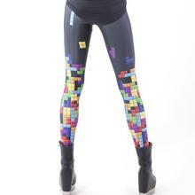 fashion women Digital print Pants  3d printed leggings Women Sexy  AURORA SKYE HEX COLOUR Tetris  Leggings Space printed pants(China (Mainland))