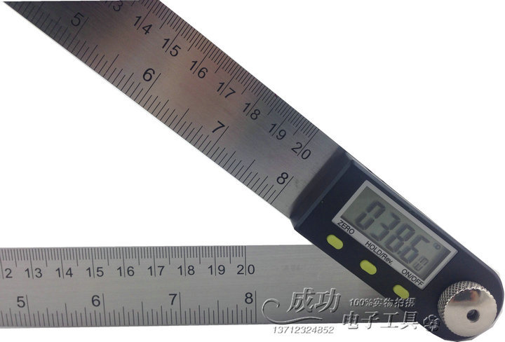 Free Shipping Stainless Steel 2in1 Digital Angle Finder Meter Protractor Gauge Scale Ruler 360 degree 200mm with Moving Blade
