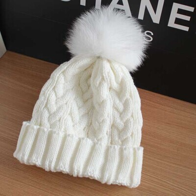 Adult Lady Natural Real Fox Fur Pom Poms Beanie Hat Cap Ball Warm Winter Knitted Wool Hat Women Black White Rose Red Navy(China (Mainland))