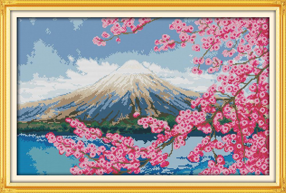 Схема вышивки Гора Фудзи