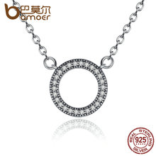 BAMOER 925 Sterling Silver Hearts Of Brand Clear Round Shape CZ Pendant Necklaces for Women Party Jewelry PSN010(China (Mainland))
