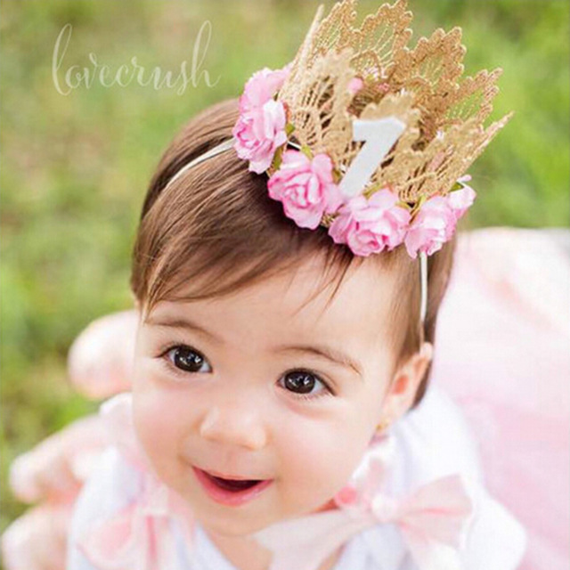 1PC Retail Newborn Baby Birthday Crown Headband Flower Lace Gold Tiara Headband for Baby Girls Party Hiar Band Accessories Gifts(China (Mainland))