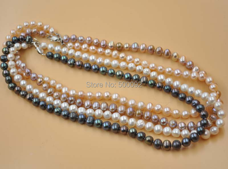 Wholesale 4 strands 7-8mm white pink purple/black freshwater pearl necklace<br><br>Aliexpress