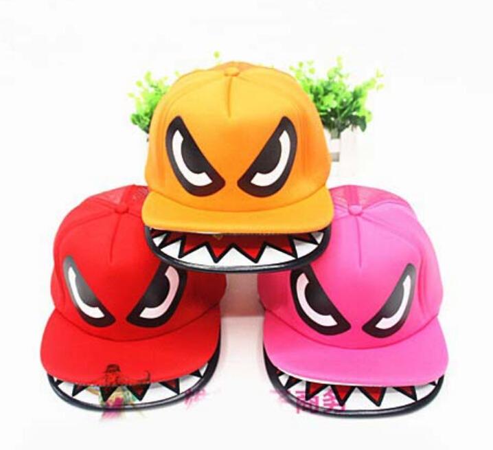 2014 New Novelty Cartoon Pattern Shark Mouth Snapback Hats/Top Quality Summer Ventilate Mesh Baseball Caps Bboy Hip Hop Cap(China (Mainland))