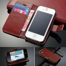 For iPhone 4 2017 Luxury Retro Wallet Stand Flip Leather Case For Apple iPhone 4 4s 4GS Phone Cover With Card Slot KickStand(China (Mainland))