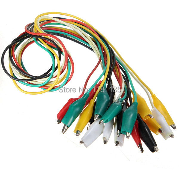 20pcs/lot 50cm Double-ended Test Leads 5 Color Alligator Crocodile Roach Clip Jumper Wire(China (Mainland))
