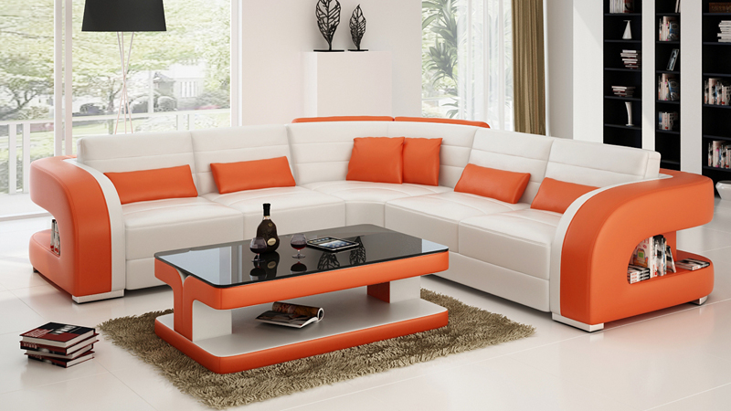 L shape modern sectional sofa in living room sofas from for Drawing room furniture designs