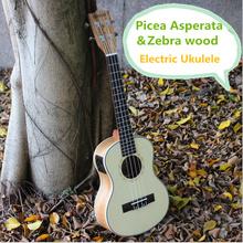 Soprano Concert Tenor Acoustic Electric Ukulele 21 23 26 Inch Mini Guitar Ukelele Guitarra Picea Asperata Zebra Wood Plug-in Uke(China (Mainland))