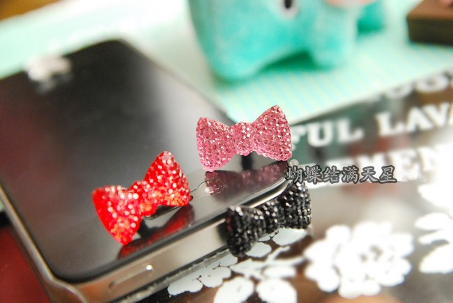Earphone Limited Dust Plug Dachshund 2014 New Cute Bowknot Dustproof Plug Caps Cell Phone Accessories