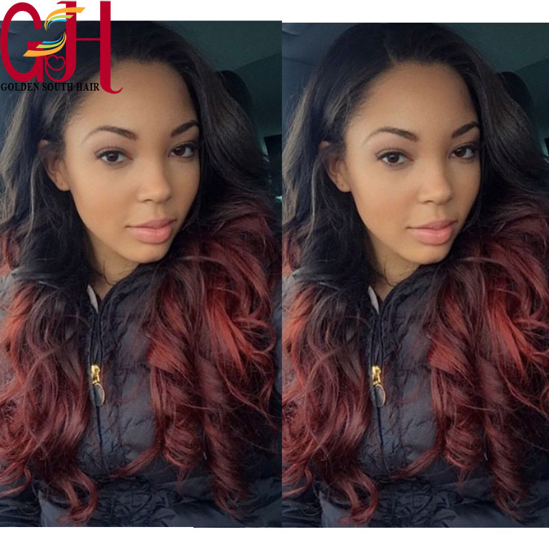 Здесь можно купить  Red human hair wig brazilian virgin full lace human hair wigs/body wave lace front wig two tone ombre wig for blackwomen on sale Red human hair wig brazilian virgin full lace human hair wigs/body wave lace front wig two tone ombre wig for blackwomen on sale Волосы и аксессуары