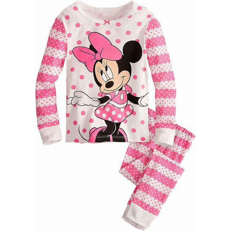 2015 Kids Pajama Sets Kids Clothes Sets Minnie kitty set girls t shirt pants winter children hoodies children suit(China (Mainland))