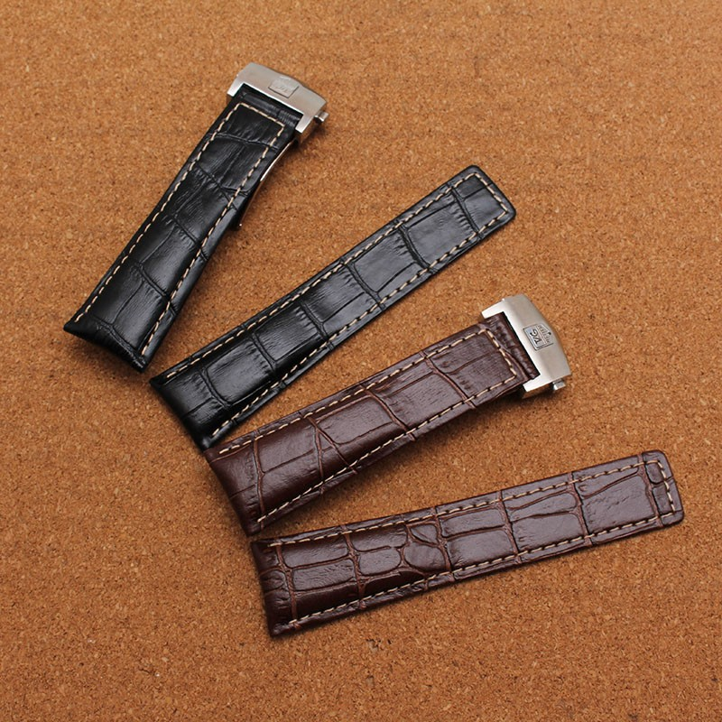 Новое прибытие 20 mm22 мм 24 мм черный белая линия складной металлической пряжкой ремень мужчины женщины ремешки для наручных часов ремешок браслет Развертывания застежка