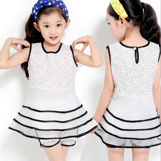 2PCS/3-8Years 2015 girls sets Korean lace sleeveless T-shirt dress+Shorts child garment kids baby clothing girl clothes BC1245(China (Mainland))
