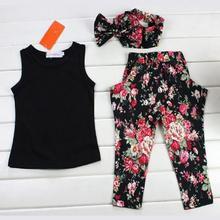 2015 3pcs Summer Child Girl Sleeveless Floral Print T-shirt + Pants + Hair Band Set Kid Outfits Black #71790(China (Mainland))