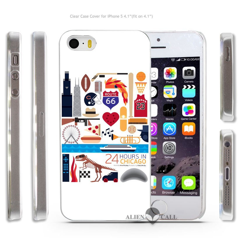24 hours in Chicago Hard Transparent Clear Case Cover Coque Shell for iPhone 4 4s 5 5s 5c 6 6 Plus