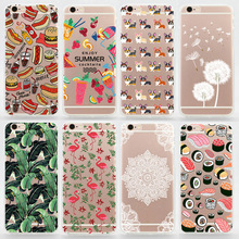 Case For iPhone 4s 5 5s SE 5c 6 6s Plus TPU Soft Transparent Coloured Drawing Phone Cover For iPhone 4 Silicone Cases
