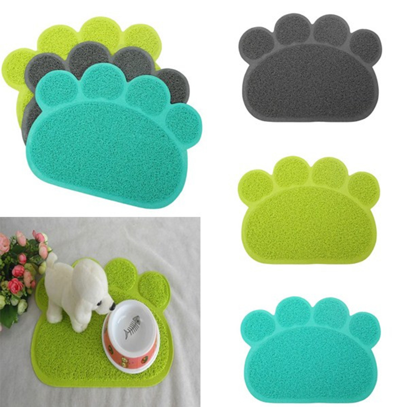 Cute Lovely PVC Dog Paw Shape Cup Placemat Pet Puppy Cleaning Feeding Dish Bowl Table Mats Pad Wipe Easy Cleaning(China (Mainland))