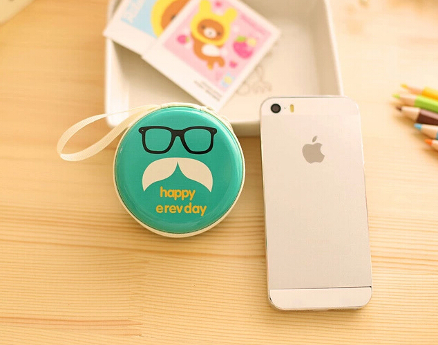 cute MR. Mustache earphone bag Storage Bag Box for coin Earphone Headphone Earbuds SD Card Promotion(China (Mainland))