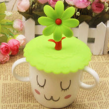 Cute Anti-dust Silicone Glass Cup Cover Coffee Mug Suction Seal Lid Cap Silicone Airtight Love Spoon Novelty(China (Mainland))