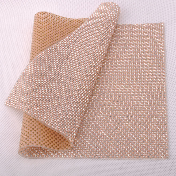 Rhinestone Glue Mesh 24X40CM SS8 Crystal and 3mm stone Lt peach Mixed Ceramic mesh for Motif rhinestones free shipping(China (Mainland))