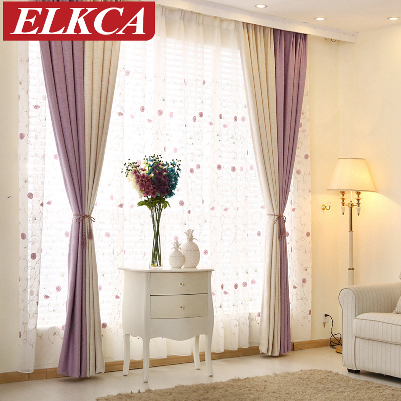 Elegant color block thick faux linen curtains for living for M s living room curtains