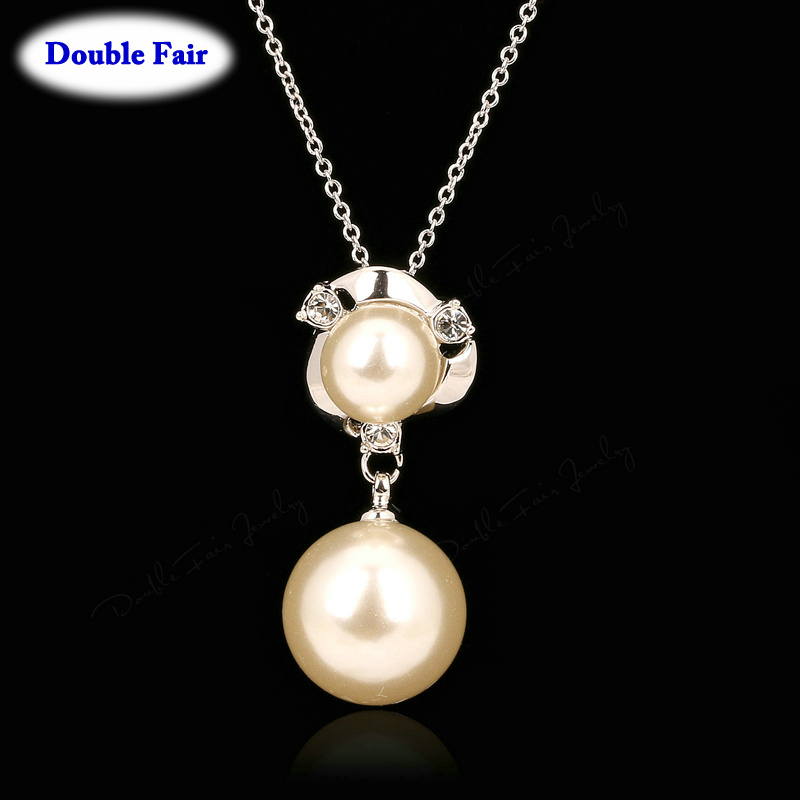 DWN107 Tow Beads Necklaces & Pendants For Women White Gold Plated Fashion Simulated Pearl Jewelry Nickel Free Austria Crystal()