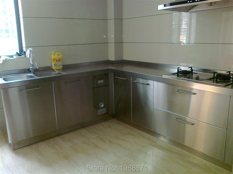 Cheap stainless steel kitchen base cabinets design in for Cheap metal kitchen cabinets