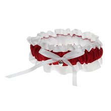 Satin Bowknot Ruffles White + Red Bridal Wedding Garters