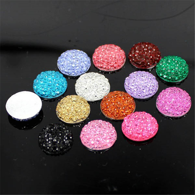 50Pcs/Lot 12mm Resin Round Flatback Rhinestones Button Sticker For Phone/Wedding/Craft Decoration High Quality(China (Mainland))