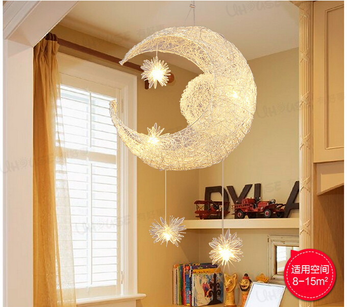 Free shipping newly modern moon star led pendant lamp for for Kids ceiling lights for bedroom